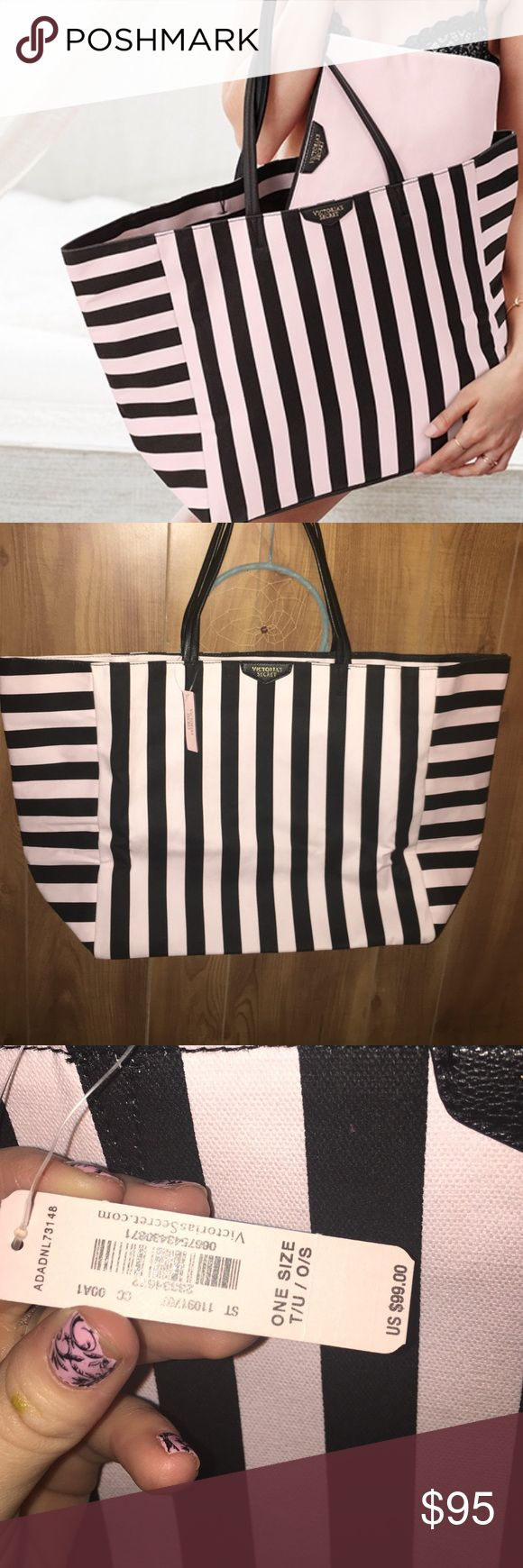 Victoria's Secret tote This bag is so cute and ginormous! Lots of room. (I mean lots of room). Never used, tags still attached! No trades! Price firm! Comes with matching pouch Victoria's Secret Bags Totes