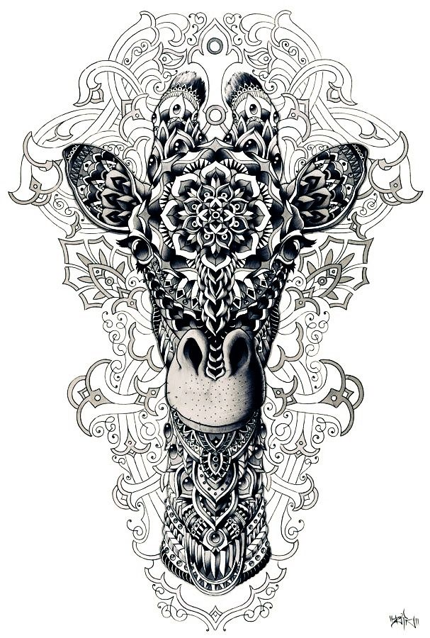 animal, art, dessin, girafe, blanc et noir