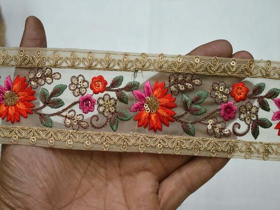 Embroidered Saree Decorative Trims Indian Laces Trim By The Yard