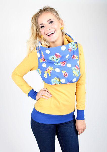 """Hoodies - MEKO """"Nifty"""" Hoodie Damen Senf Gelb Blumen - ein Designerstück von meko bei DaWanda"""