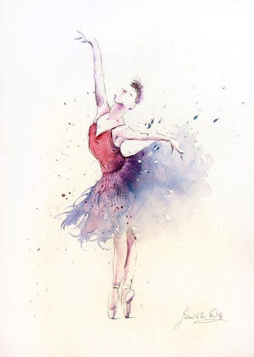 Acuarela original de la bailarina pintura de por EwArtStudio
