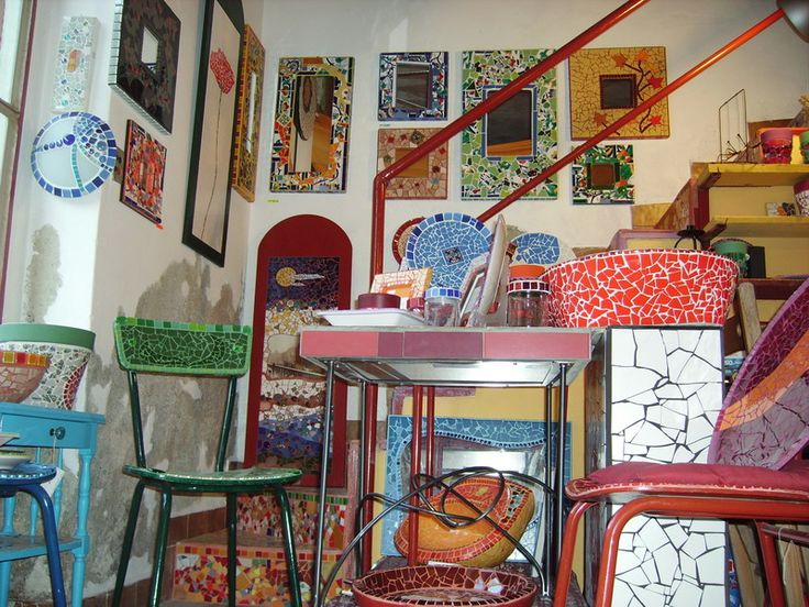 Mosaic mirrors and other stuff in the atelier