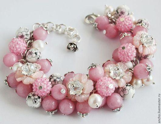 """Браслеты ручной работы. Ярмарка Мастеров - ручная работа. Купить Браслет """"Розовые цветы"""". Handmade. Бледно-розовый, розовый браслет"""