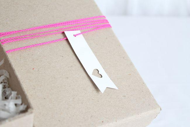 pink + kraft + heart tag