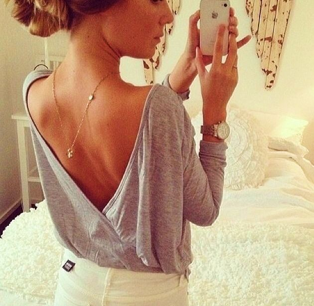 Low v backless shirt, longsleeve shirt, casual outfit