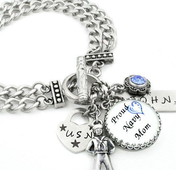 Military Mom Charm Bracelet Military Jewelry by BlackberryDesigns