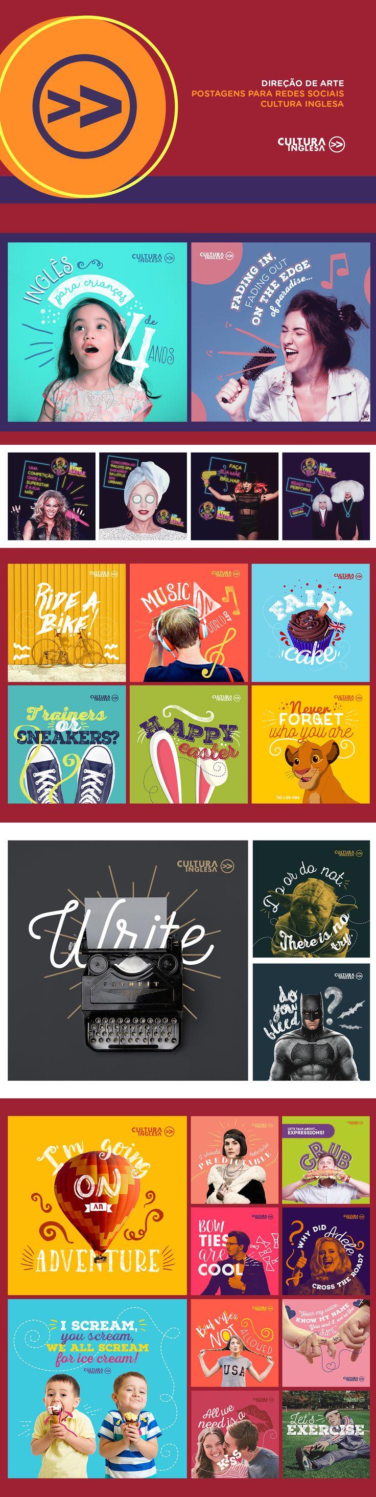 Postagens para Cultura Inglesa. / Direção de Arte: Daiana Leal. / Redação…