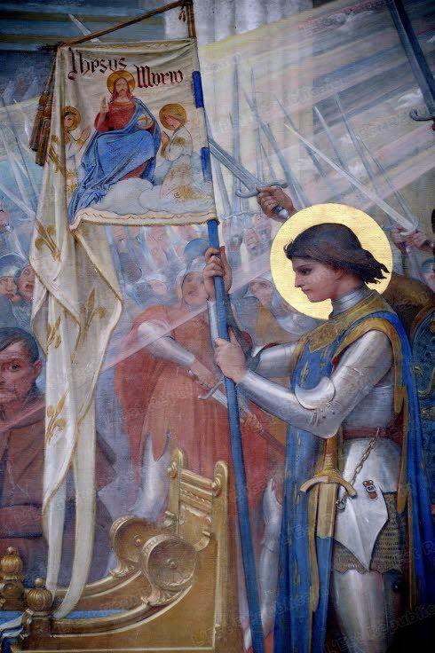 Étendard blanc avec fleur de lys, écris Jesus Maria, et figures saintes