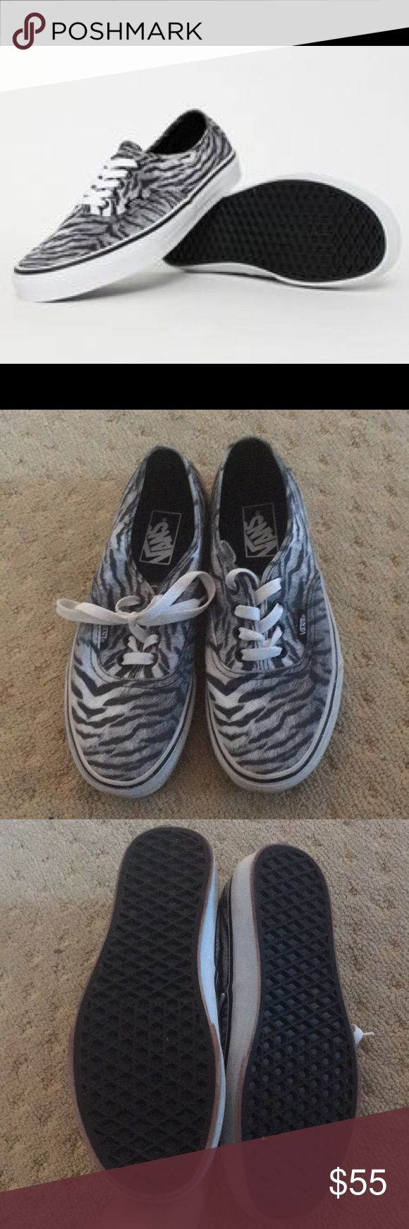Black and white tiger print unisex  classic vans Tiger print black and white classic vans  Classic black and white vans  Tiger print  Unisex tiger pattern vans  Women's 7.5 Men's size 6  Make an offer if interested Vans Shoes
