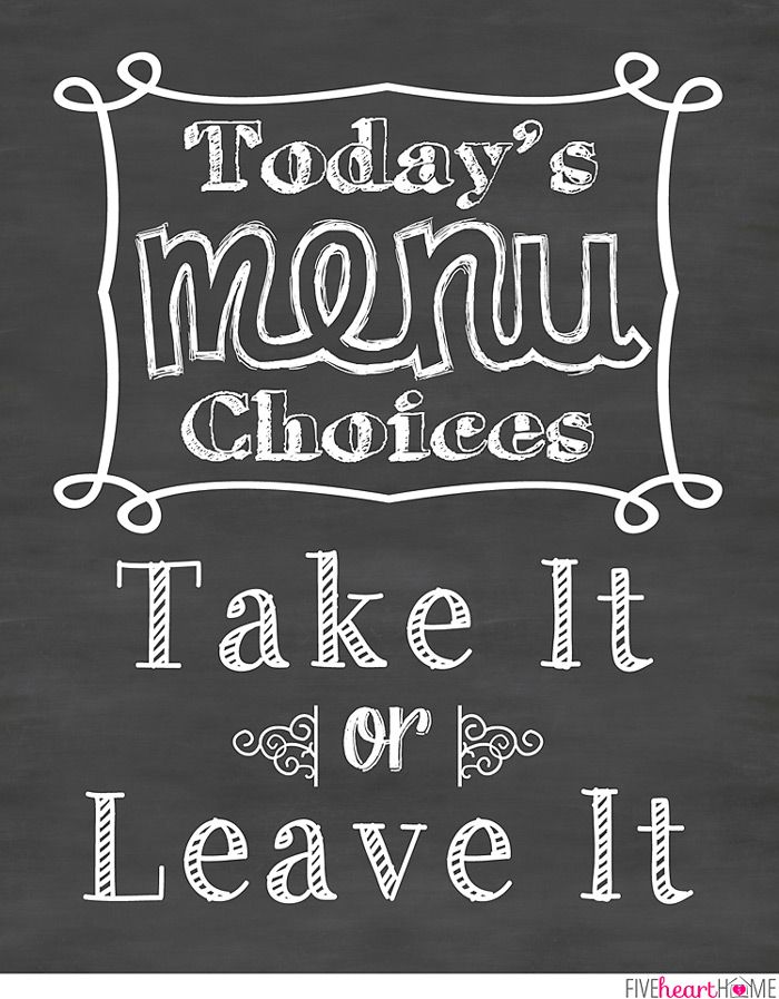 Perfect Chalkboard Art Kitchen Quote: Take It Or Leave It ~ Free Printable | {Five