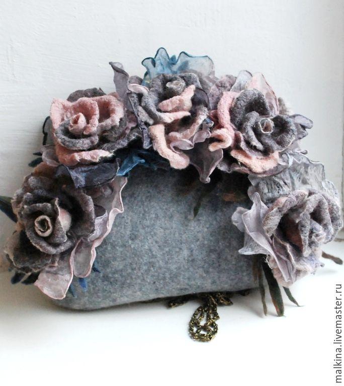 Купить Валяная сумочка София - серый, валяная сумка, валяная сумочка, серая сумочка