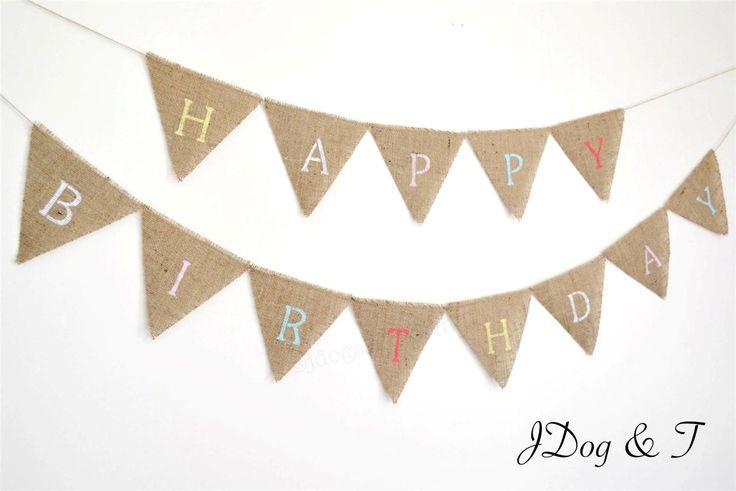 New HESSIAN HAPPY BIRTHDAY BUNTING RUSTIC PARTY DECORATION VINTAGE SHABBY CHIC   eBay