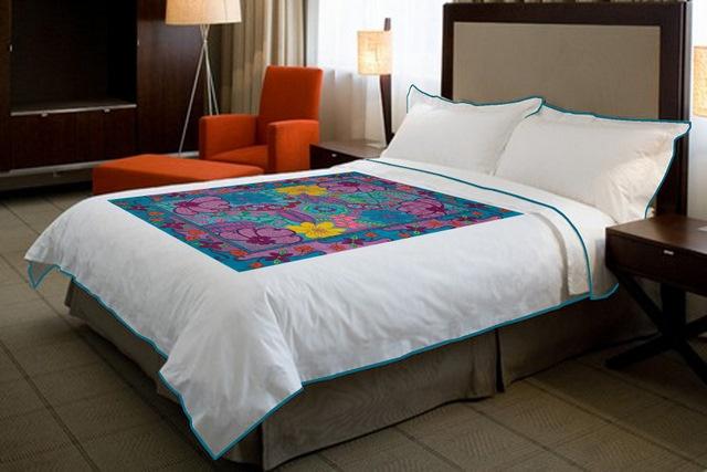 a Texta_artist design photoshopped on bedspread