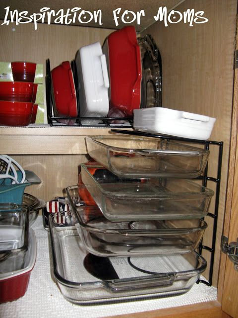 Frugality Gal: 14 Frugal Kitchen Organizing Ideas. Use vertical rack for lg corning ware and pie plates on back shelf