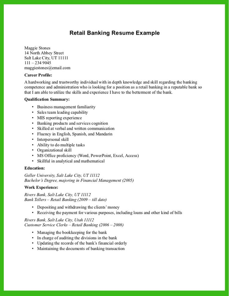 Retail Banking Resume Example - http\/\/wwwresumecareerinfo - retail banker sample resume