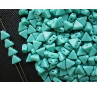 50pcs Khéops® par Puca® 6mm 2-hole Czech Glass Pressed Beads Opaque Green Turquoise