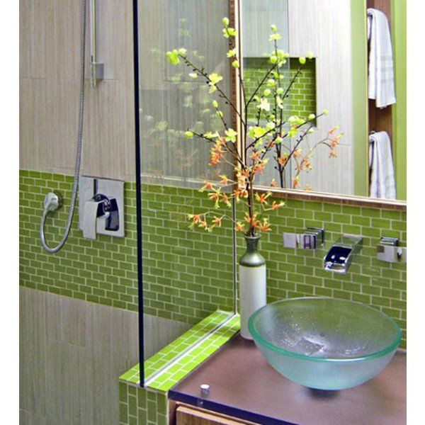 spiegel glas waschbecken grn fliesen badezimmer - Badezimmer Grn