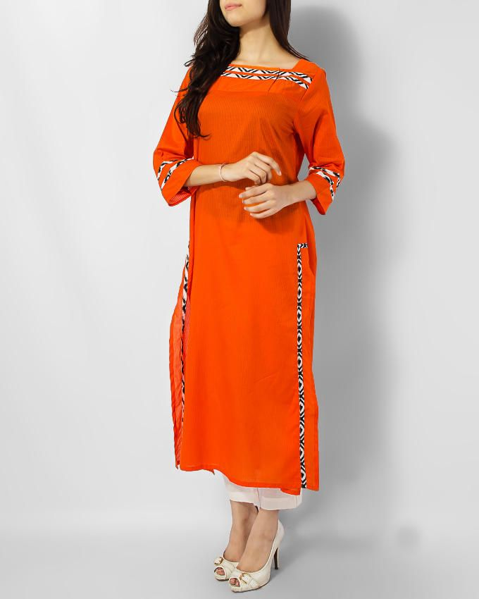 Alkaram Studio Orange Cotton Basic Kurta