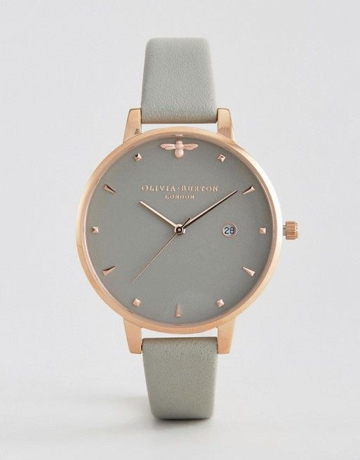 Olivia Burton Bee Grey Leather Watch