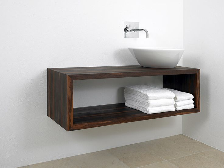 Dark wood console with vessel sink bathroom ideas for Diy floating vanity sink