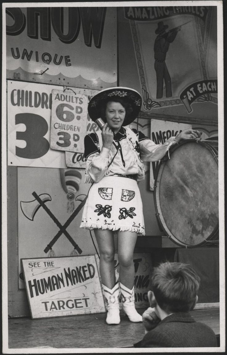 c.1940's. Newcastle Hoppings. Believed to be Elisa Stewart performing at the Hoppings, Newcastle. The Hoppings is a popular fair in the North East of England, held in the last full week of June every year on Newcastle's Town Moor, spanning around 40 acres of land.