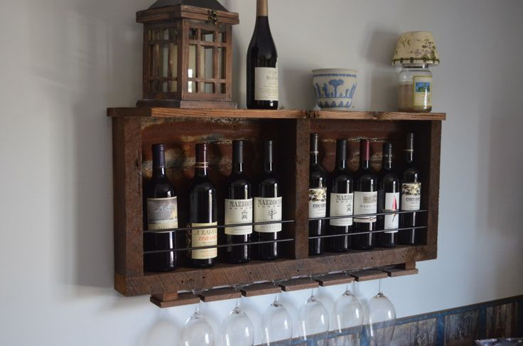 Rustic wine rack, Reclaimed barn wood - with rusted Tin barn roof and shelf, includes wine glass holder by BarrelsAndBarnWood on Etsy https://www.etsy.com/listing/231590848/rustic-wine-rack-reclaimed-barn-wood