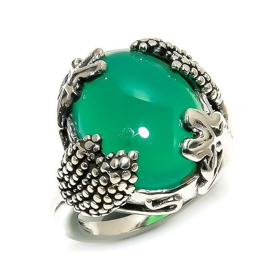 Details about  /Natural Oval Green Onyx Gemstone 925 Sterling Silver Ring For Christmas Gift
