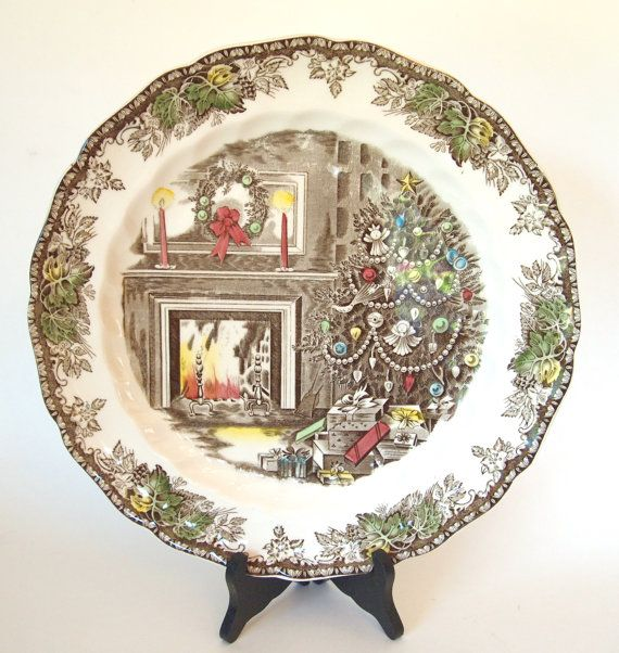 Vintage Johnson Brothers Platter Friendly Village Christmas Tree Round Platter by HouseofLucien