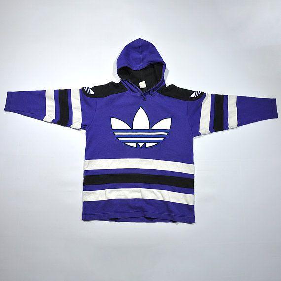 Rare Vintage 80s 90s Adidas Hoodie Sweatshirt Sweater Retro Adidas Pullover Jumper Decente Color Block Multi Color Adidas Outfit Clothes Clothes Design