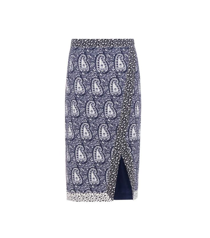 GABRIELLE'S AMAZING FANTASY CLOSET | Altuzarra Navy & White Paisley Pencil Skirt with Black & White Contrasting Inlay Print and Cut-Out Hemline. You can see the Matching Top and the Rest of the Outfit and my Remarks on this board. - Gabrielle