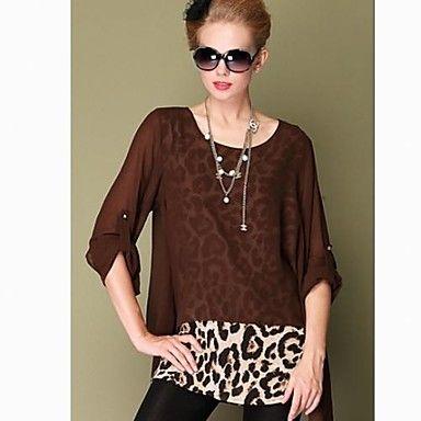 Mujeres simple de dos piezas de encaje gasa Loose Fit tamaño grande Shirt – USD $ 20.99