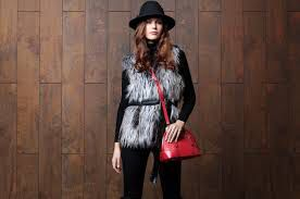 Pia Rossini Oxford Red Crossbody Bag with Anouska Fur gilet Courtney Hat