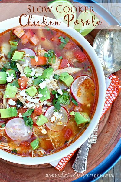 Slow Cooker Chicken Posole | This slow cooker chicken soup is loaded with savory chicken, hominy, and tons of fresh vegetables. #recipe