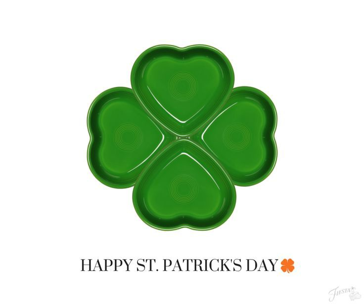 HAPPY ST. PATRICK'S DAY. Did you know 4 Heart Dishes from Fiesta Dinnerware make this cute shamrock?