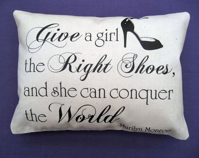 SHOES QUOTE By Marilyn Monroe   Handmade Vintage Shabby Chic Decorative  Cushion £7.45