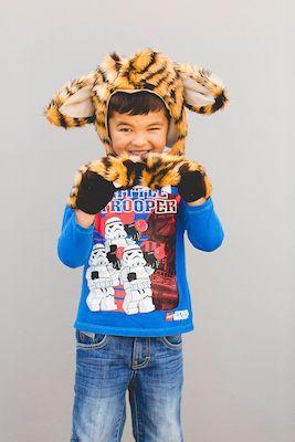 Wild Animal Hood and Mitten Set - Dress Ups Kids