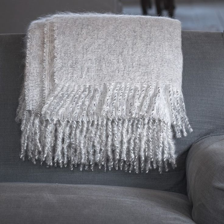 Two Toned Mohair Throw - Silver & Grey