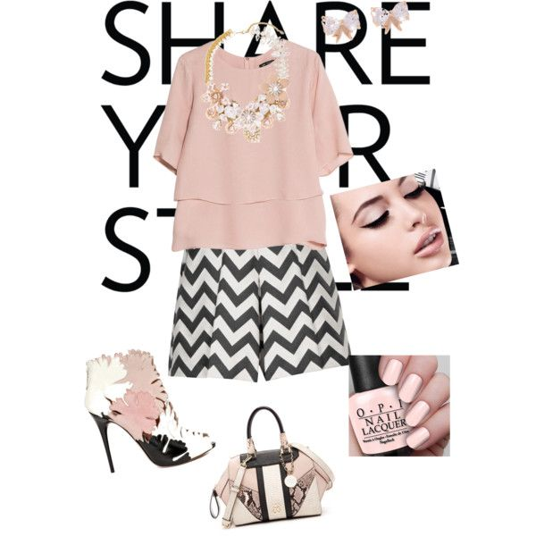 Blush | A fashion look from March 2015 featuring MANGO blouses, Reiss shorts and Alexander McQueen ankle booties. Browse and shop related looks.