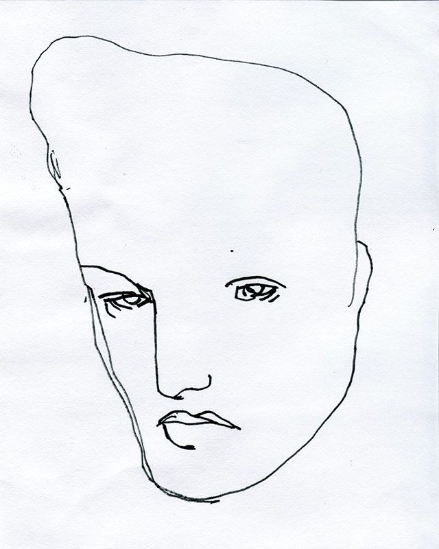 VIIVA ELVIS Artist: Noora Isoeskeli, 2005. Drawing, marker on paper. 13,4x17 cm. More works from the artist at www.tabulaland.com/tuote-osasto/taiteilijat-osasto/noora-isoeskeli/