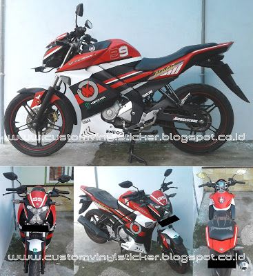Yamaha Vixion Black - Custom Lorenzo Wrapp & Stripe Sticker #yamaha #motor #vixion #lorenzo #99 #stripe #stripesticker #wrapp #wrappsticker #cuttingsticker