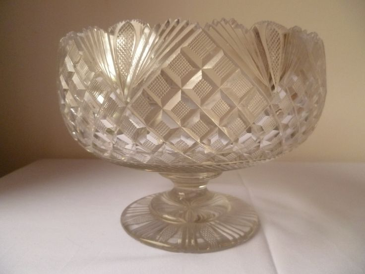 Antique, Victorian hand blown and cut footed fruit bowl. by MWKIRKonETSY on Etsy