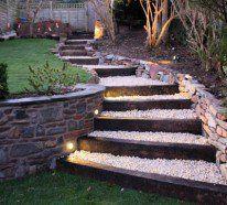 Es kann sein, dass einige Anhöhen da sind. Machen Sie Ihren Weg durch den Garten einfach, wenn Sie eine Gartentreppe selber bauen.Gestalten Sie einen Fußweg