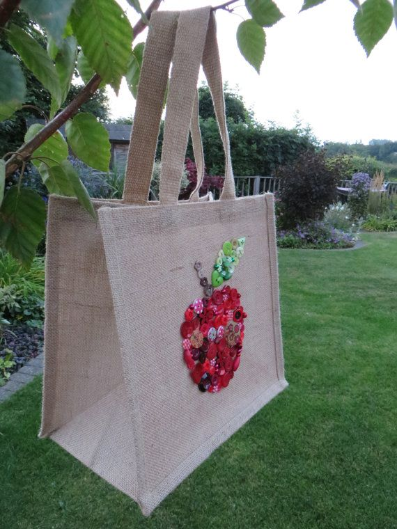 Medium sized Jute Bag with a waxed waterproof by MadeByButtonLove