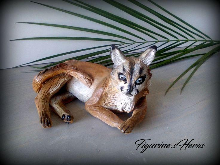 Figurine lynx du desert En argile : Sculptures, gravures, statues par figurinesheros