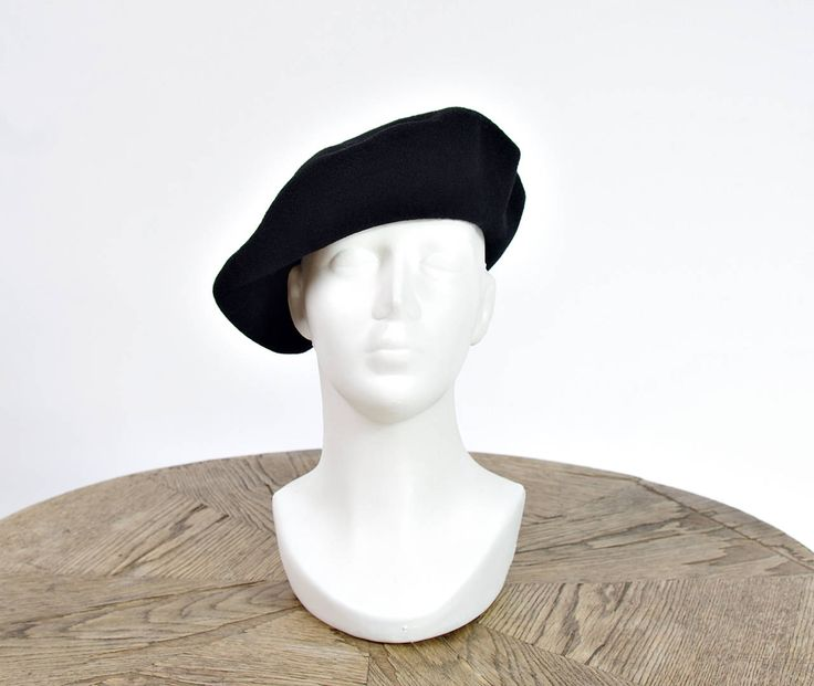 80s Kangol Painter Artist French Style Black Wool Beret by Only1Copy on Etsy
