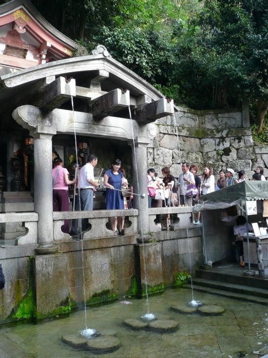 Otowa-no-taki , the 'Sound of Feathers Waterfall' at Kiyomizu-dera.