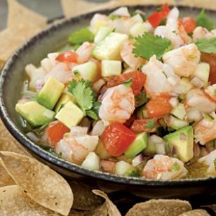 Shrimp, avocado, tomato, peppers, cucumber, red onion, cilantro, citrus juices= Shrimp ceviche!