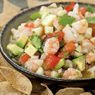 "Shrimp Ceviche Recipe - i adjusted it to exclude the tomatoes and include mango and jicama and it was delish! serve with ""scooping"" tortillas as they work best!"