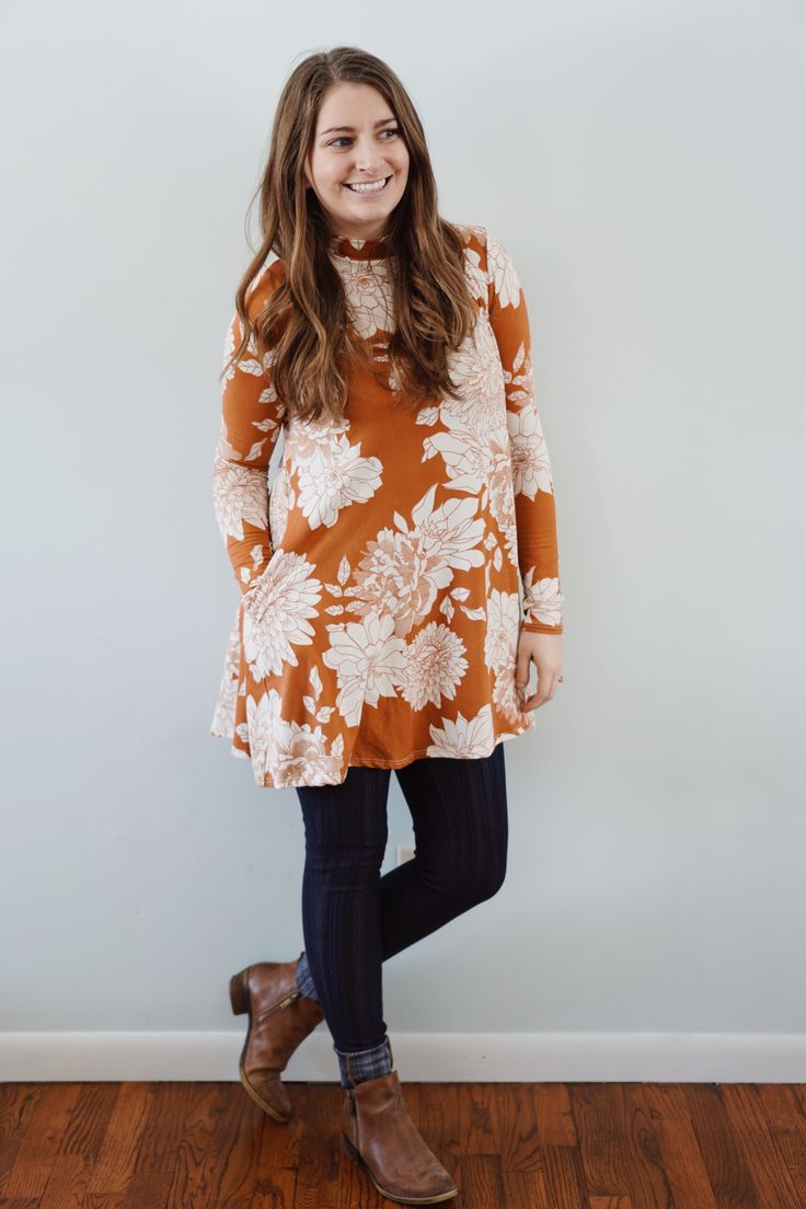 Agnes & Dora Mock Neck Swing Tunic and Denim Jeggings make such a comfortable and cute outfit.