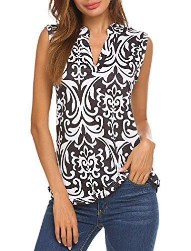 ae1ad472fddc94 Halife Womens Sleeveless Shirts Summer Tops Casual Tanks V Neck Office Wear  Black S